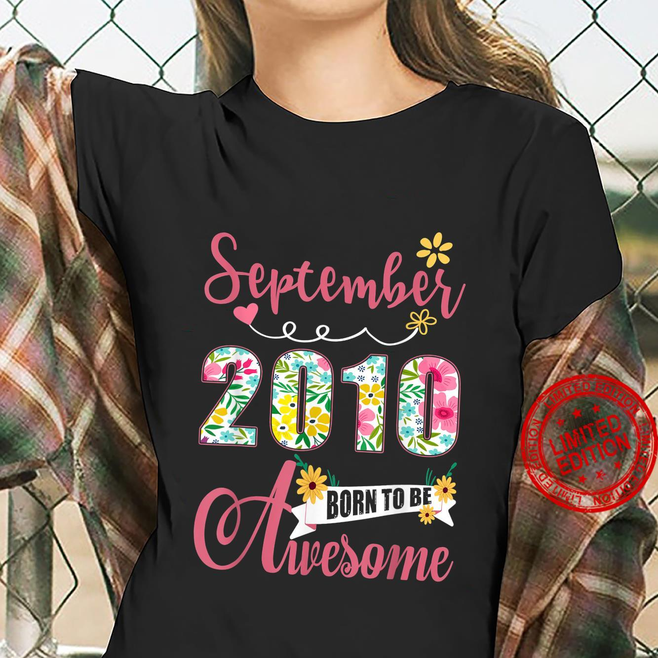 11th Birthday Floral Born In September 2010 Shirt ladies tee