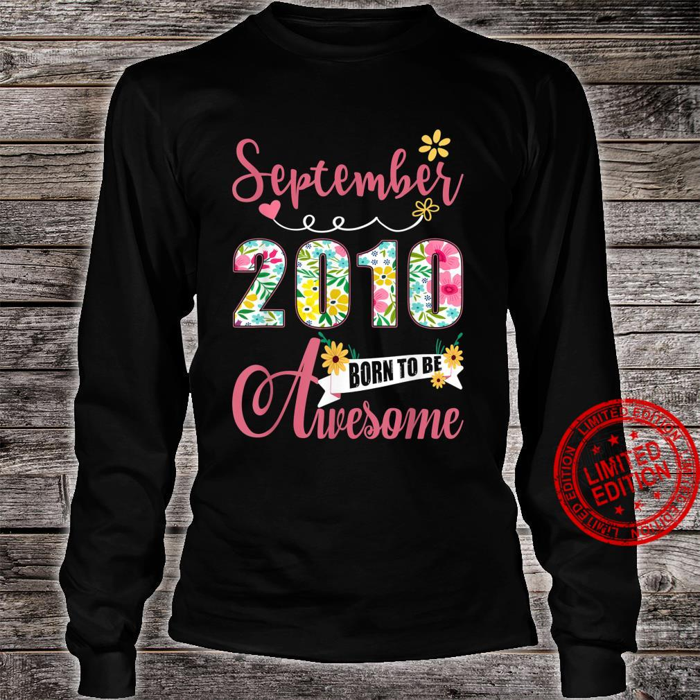 11th Birthday Floral Born In September 2010 Shirt long sleeved