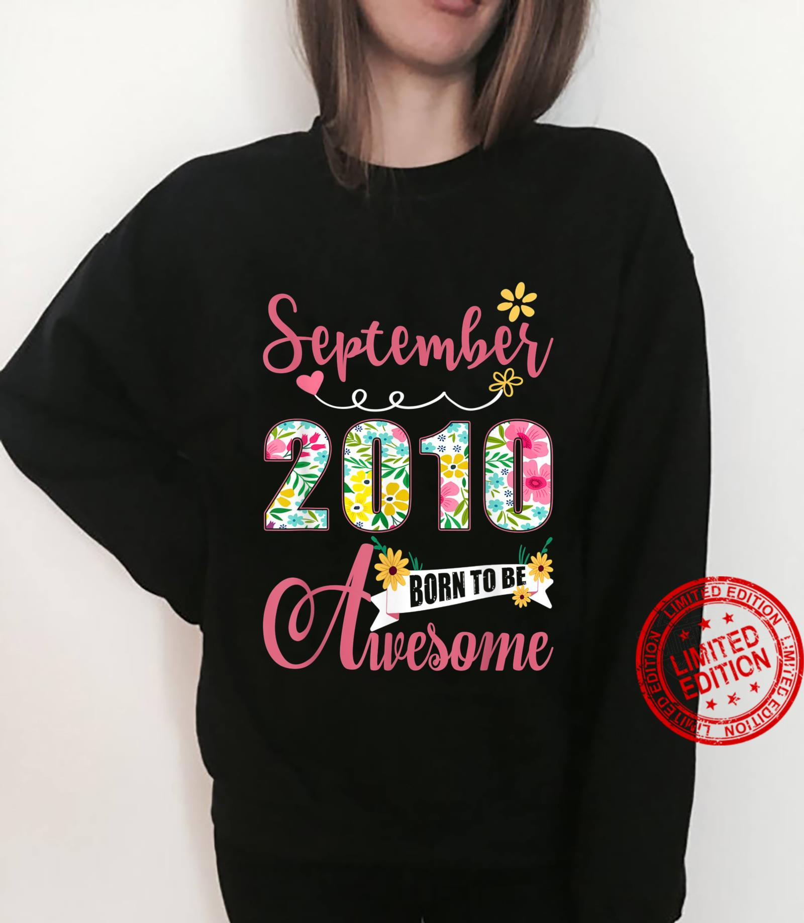 11th Birthday Floral Born In September 2010 Shirt sweater