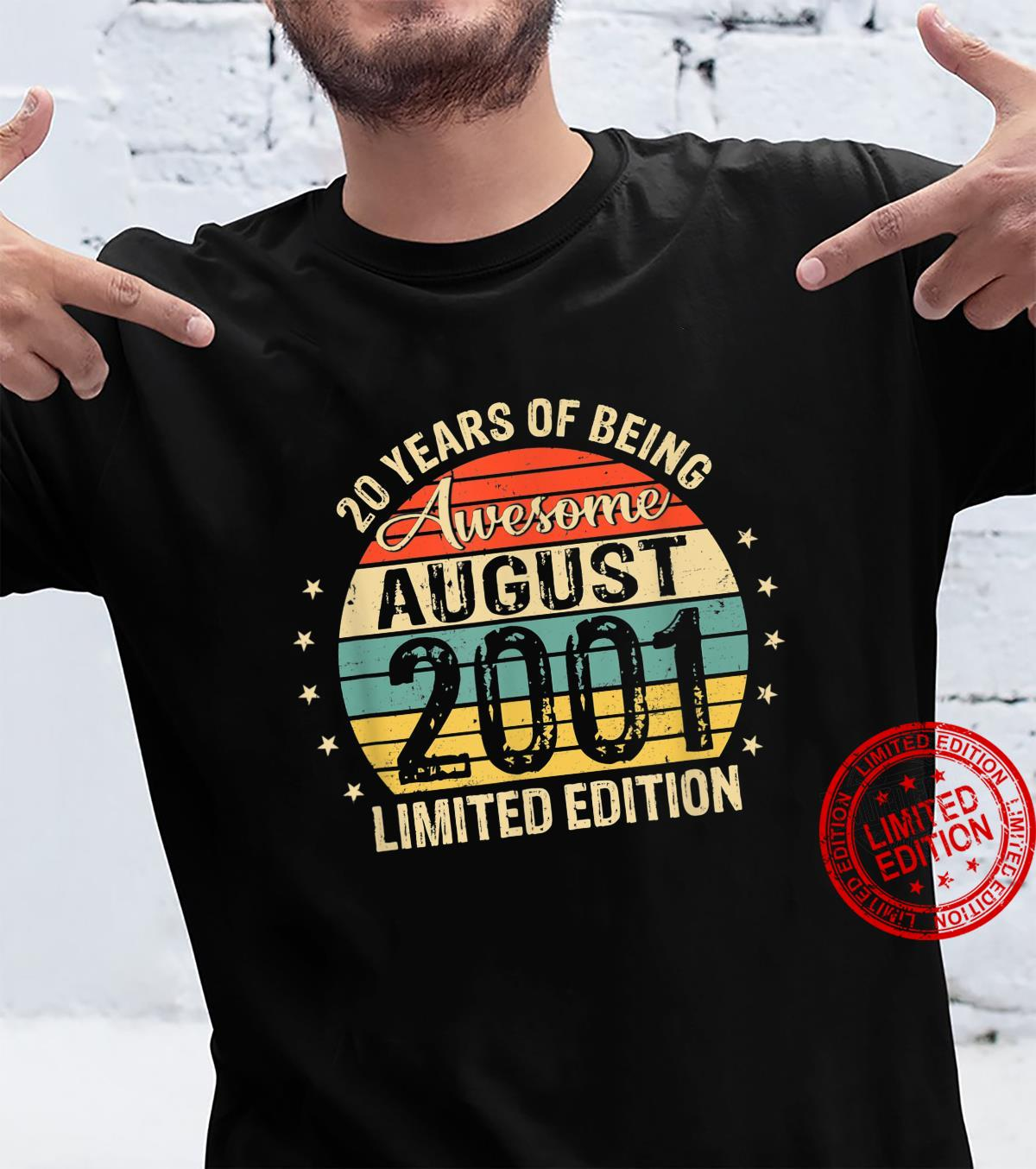 20th Birthday 20 Years Old Awesome Since August 2001 Shirt