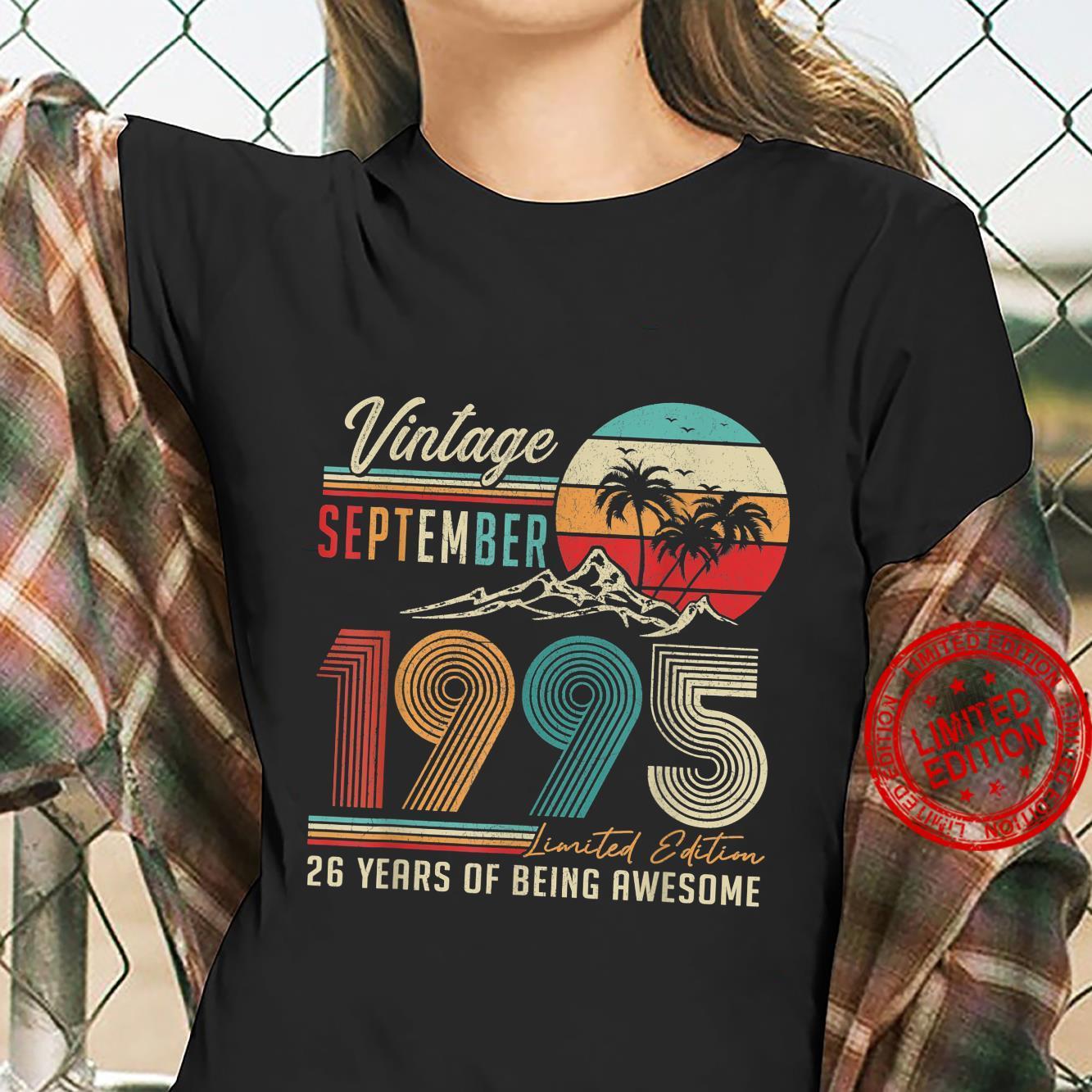 26 Years Old 26th Birthday Decoration Vintage September 1995 Shirt ladies tee