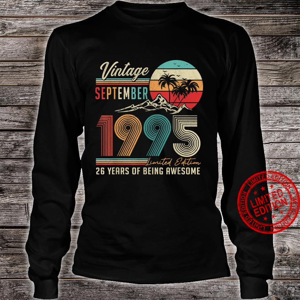 26 Years Old 26th Birthday Decoration Vintage September 1995 Shirt long sleeved