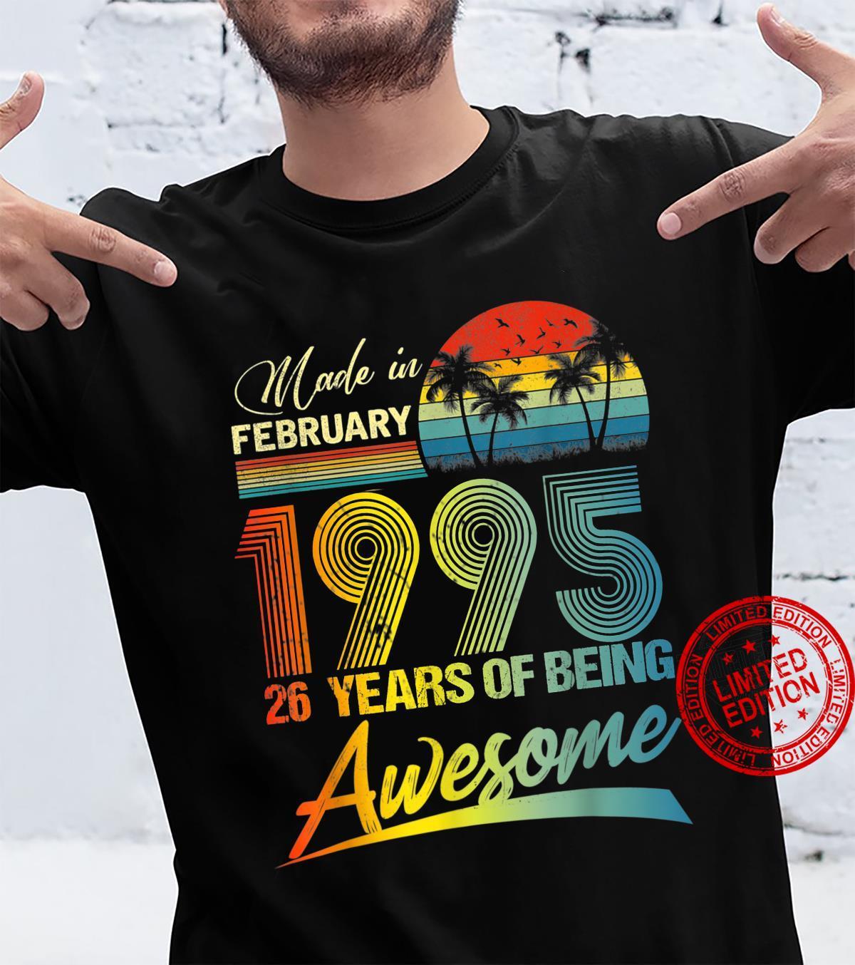 26th Birthday Vintage Retro February 1995 26 Year Old Shirt