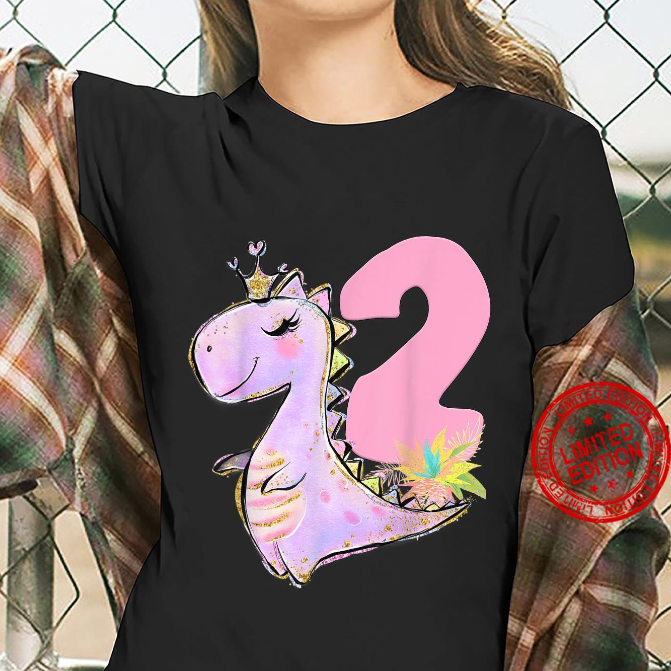 2nd Birthday Dinosaur Girl Dino Party TRex Two Shirt ladies tee