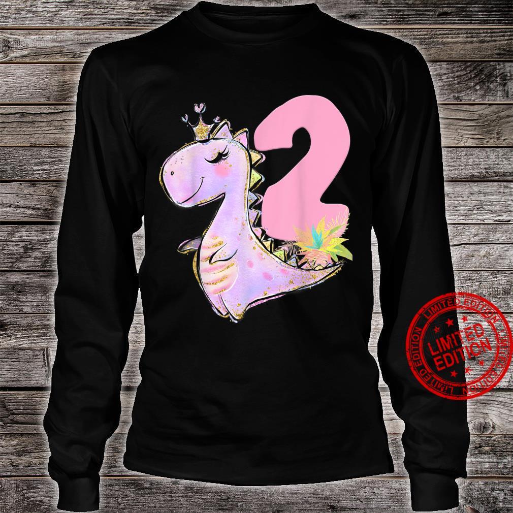 2nd Birthday Dinosaur Girl Dino Party TRex Two Shirt long sleeved