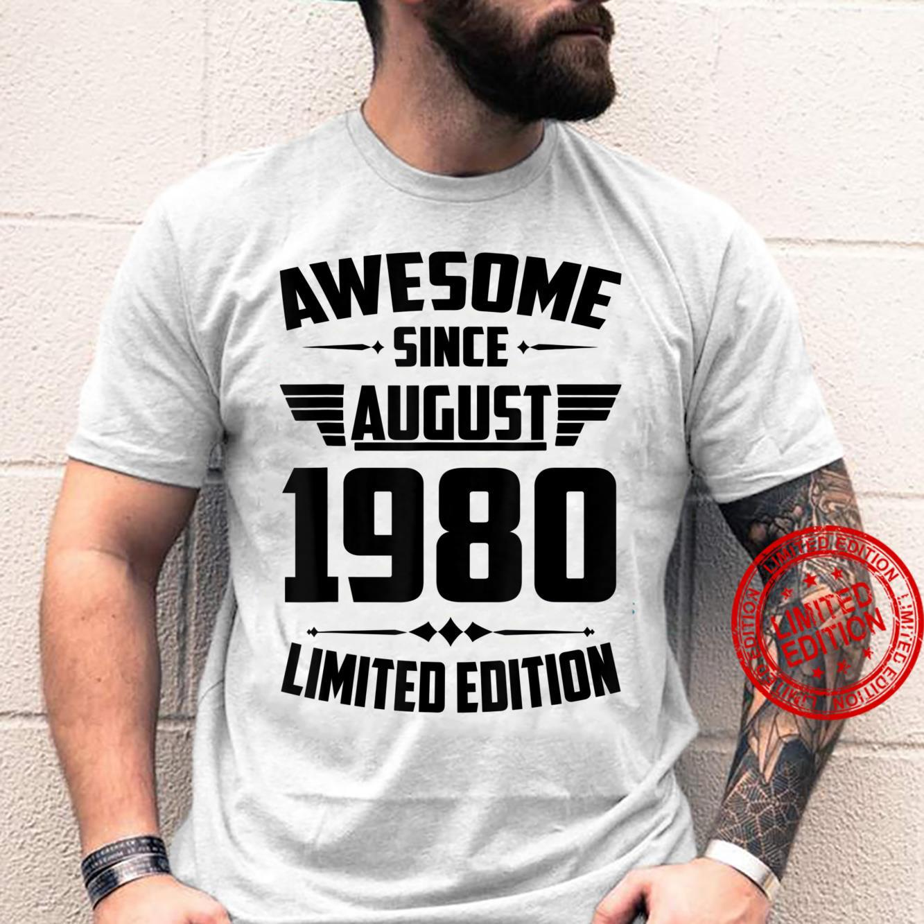 41st Birthday 41 Years Old Awesome Since August 1980 Shirt
