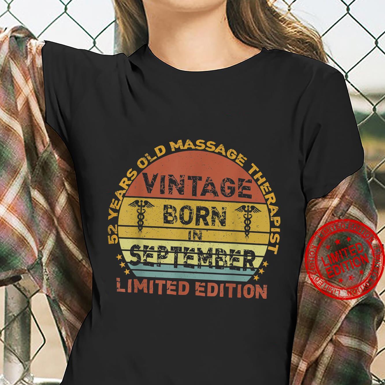 52 Years Vintage September Massage Therapist 52nd Birthday Shirt ladies tee