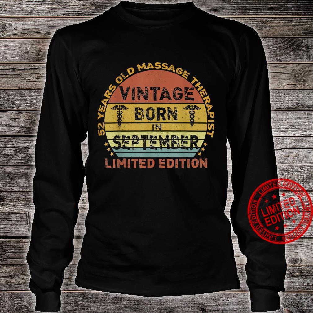 52 Years Vintage September Massage Therapist 52nd Birthday Shirt long sleeved
