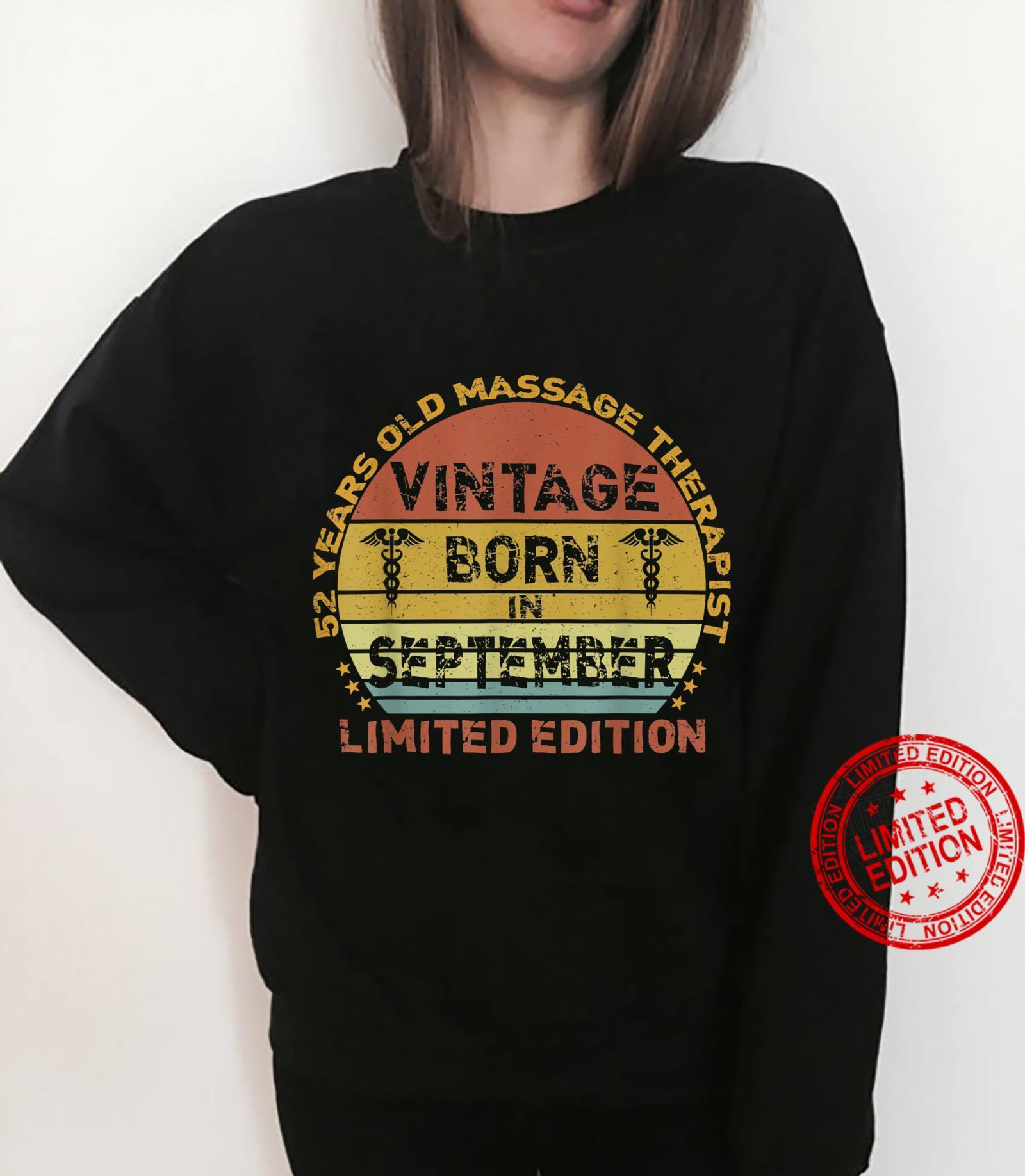 52 Years Vintage September Massage Therapist 52nd Birthday Shirt sweater