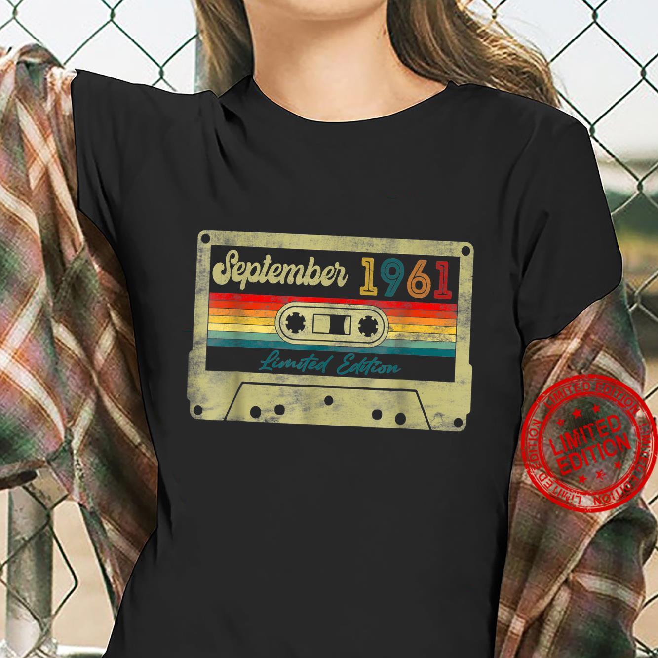60th Birthday Music Decorations September 1961 Cassette Tap Shirt ladies tee