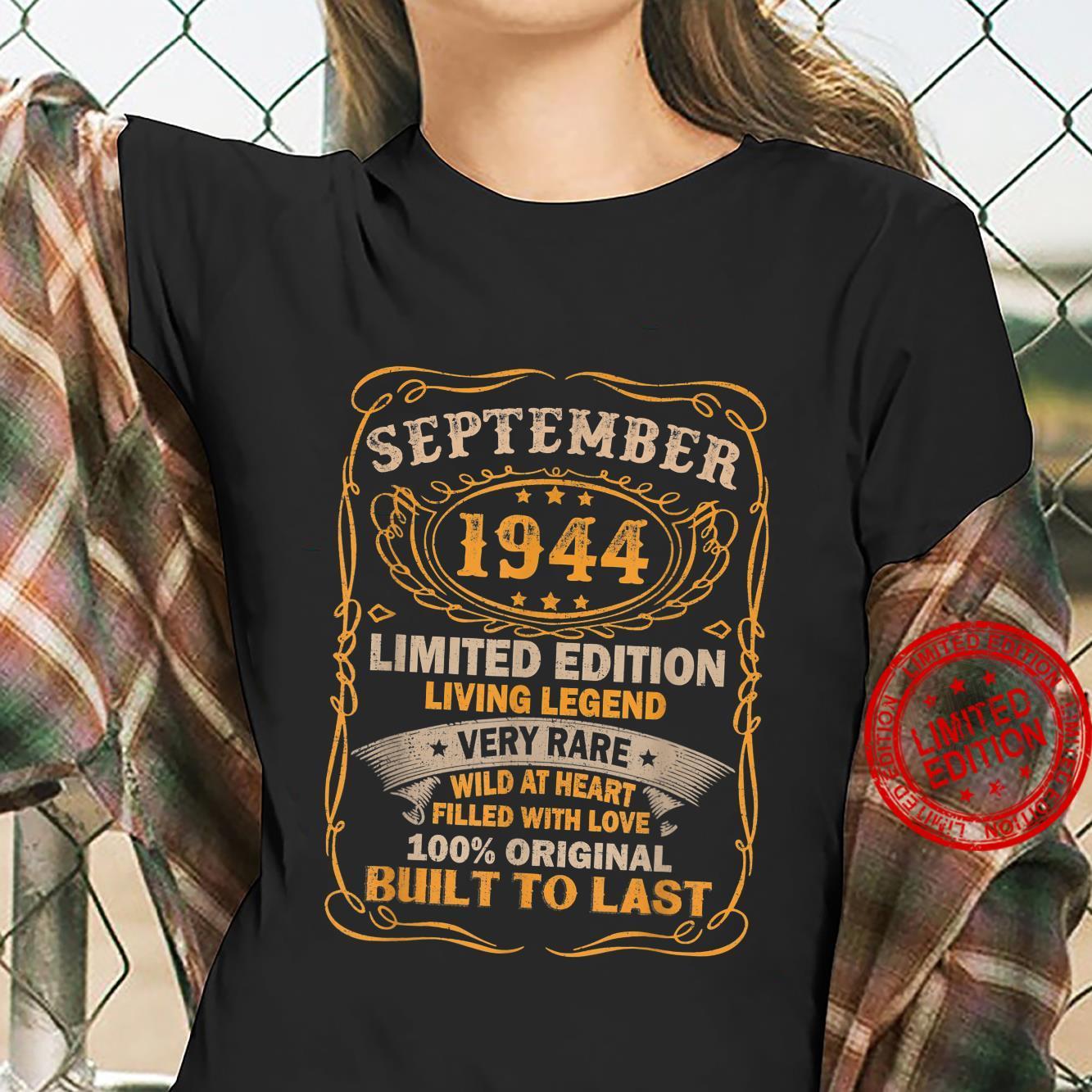 77 Years Old Vintage September 1944 77th Birthday Shirt ladies tee