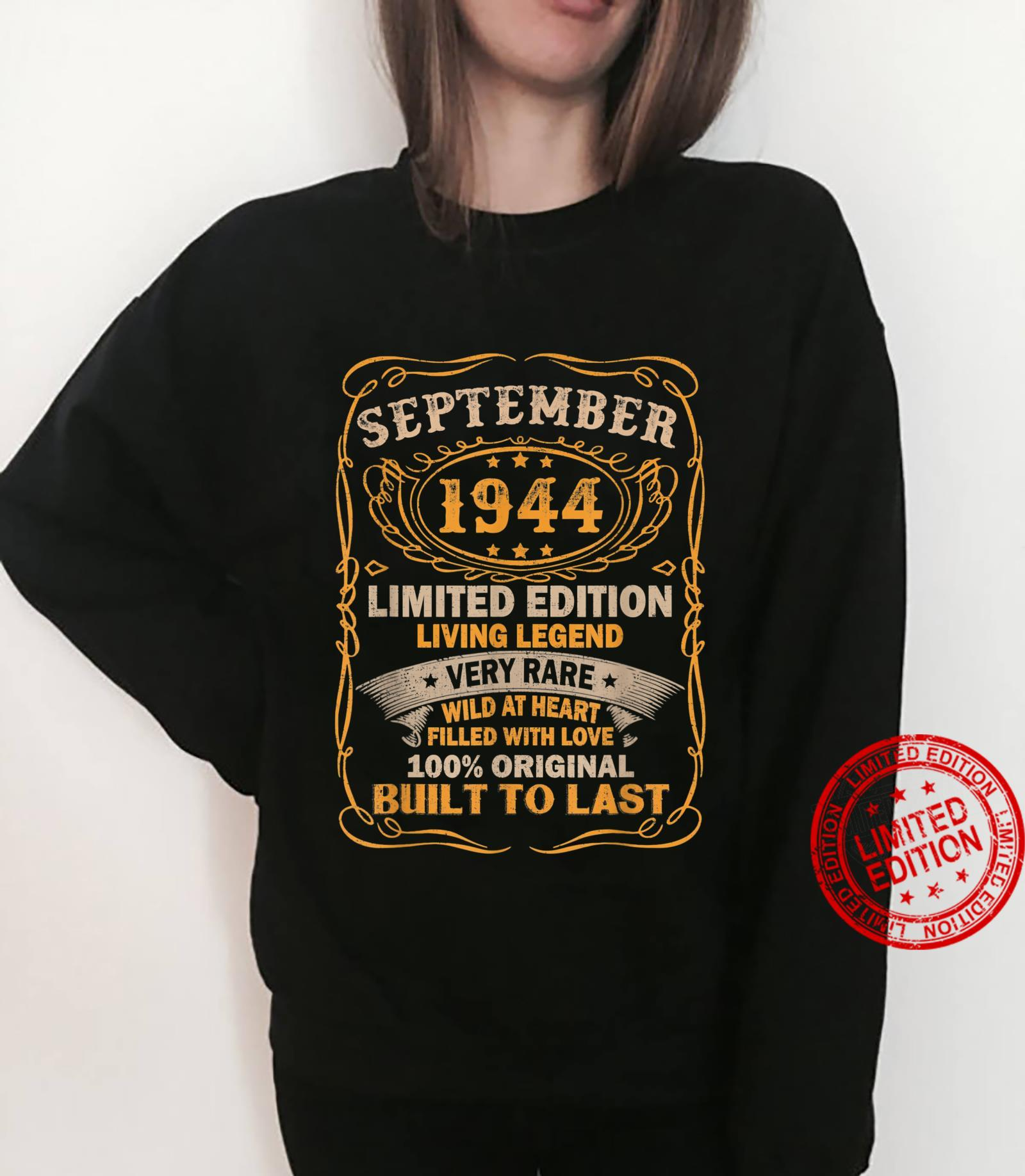 77 Years Old Vintage September 1944 77th Birthday Shirt sweater