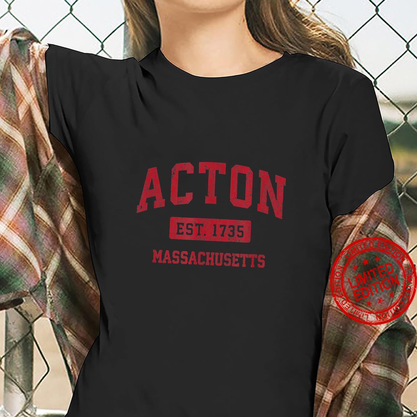 Acton Massachusetts MA Vintage Sports Design Red Design Shirt ladies tee