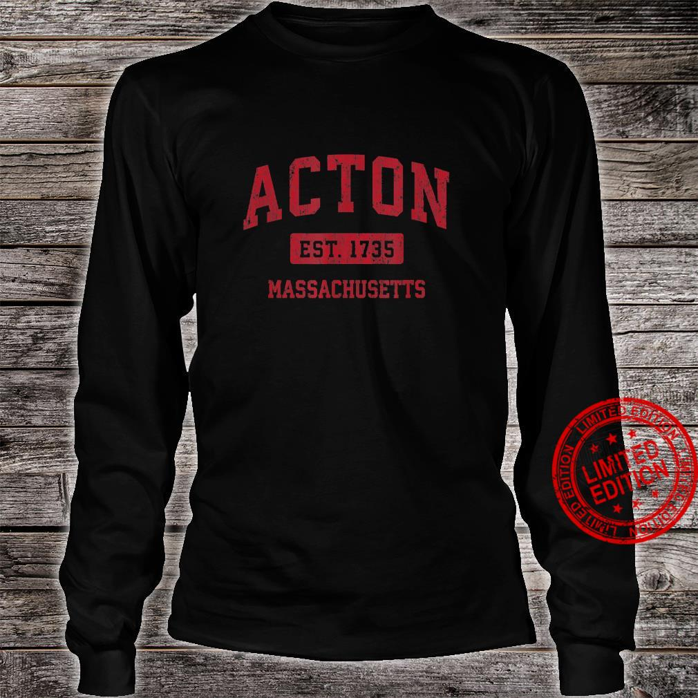 Acton Massachusetts MA Vintage Sports Design Red Design Shirt long sleeved