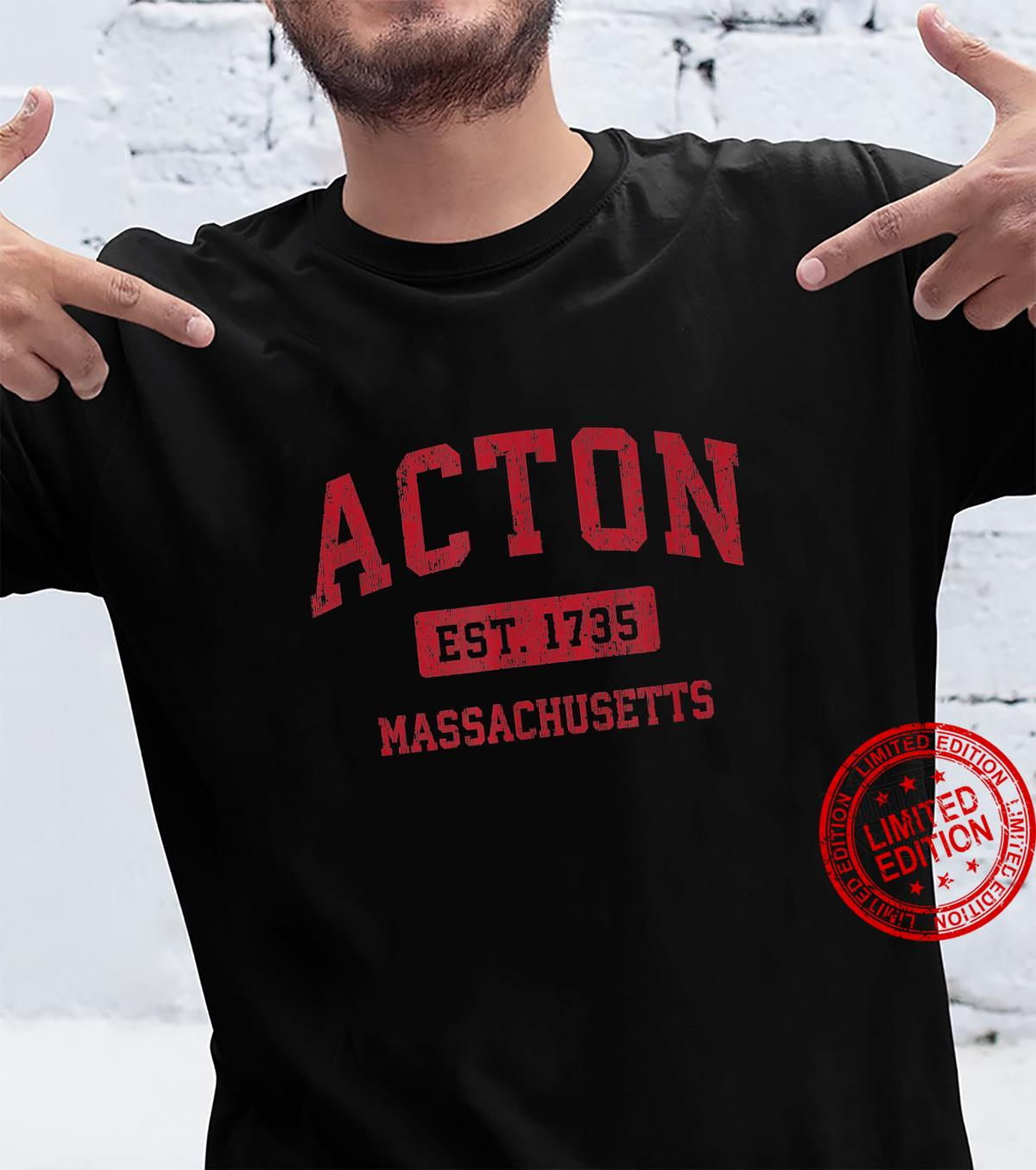 Acton Massachusetts MA Vintage Sports Design Red Design Shirt