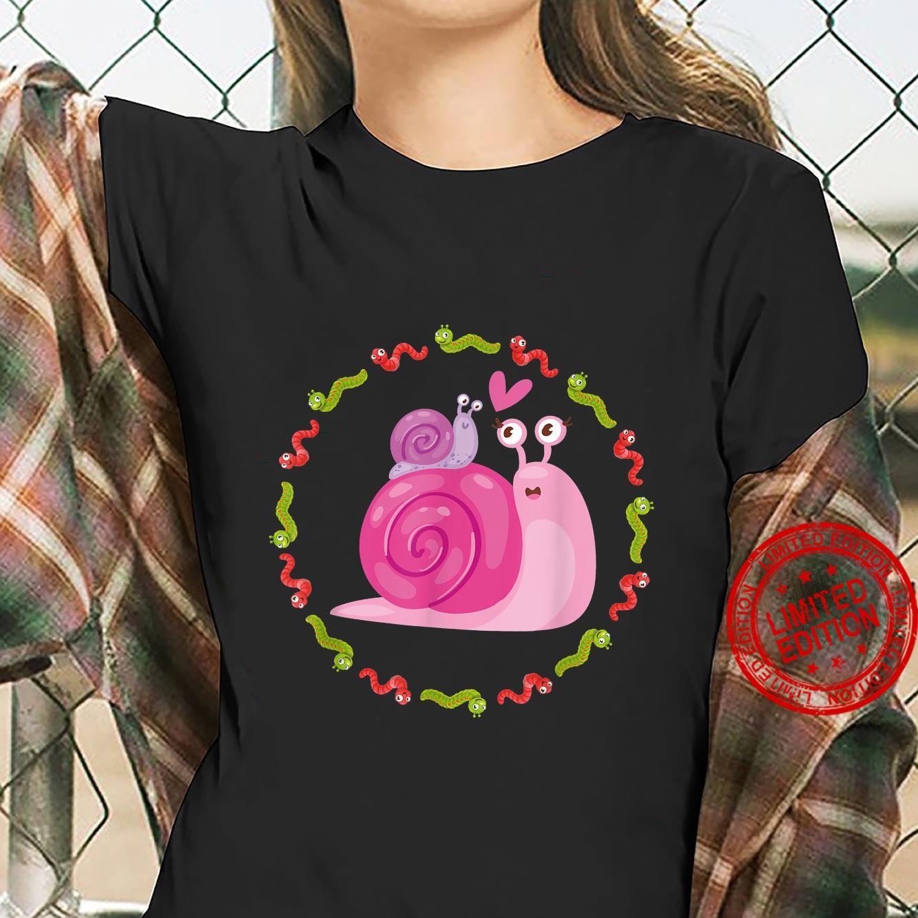 Adorable snail in colorful caterpillar circle gardening Shirt ladies tee