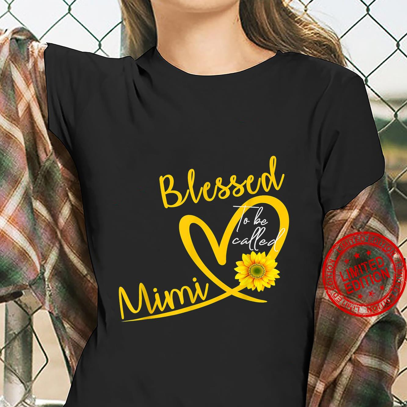 Blessed To Be Called Mimi Heart Sunflower Mother's Day Shirt ladies tee