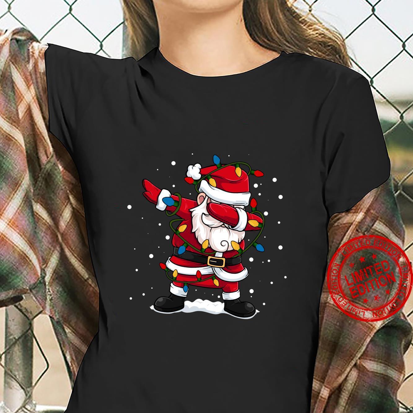 Dabbing Santa Claus Christmas Tree Lights Boys Dab Shirt ladies tee