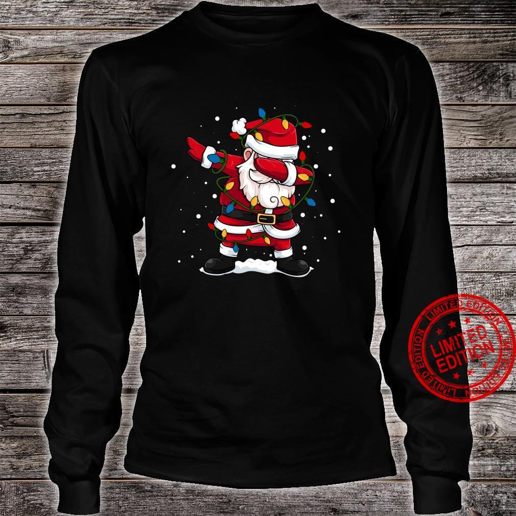 Dabbing Santa Claus Christmas Tree Lights Boys Dab Shirt long sleeved