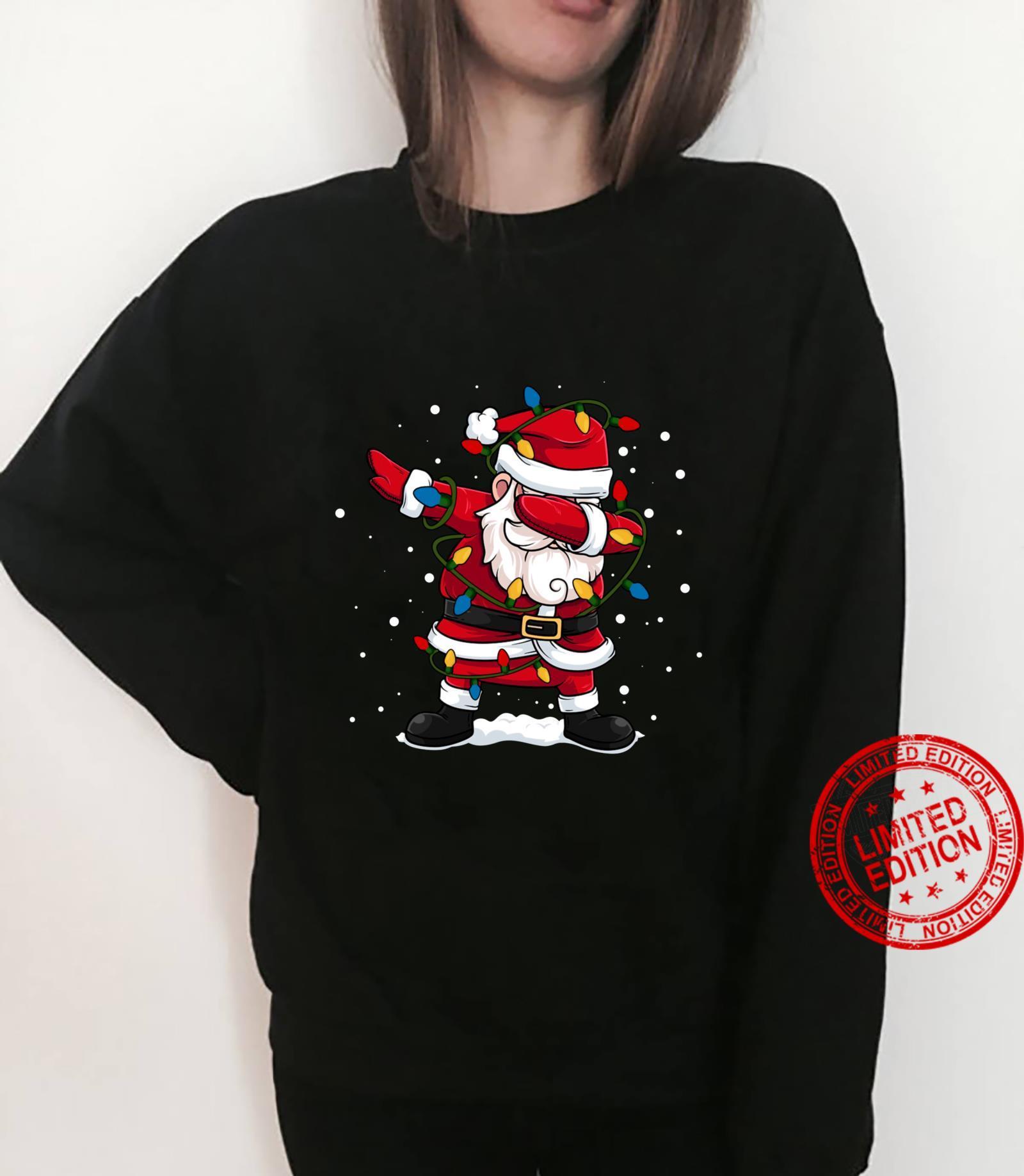 Dabbing Santa Claus Christmas Tree Lights Boys Dab Shirt sweater