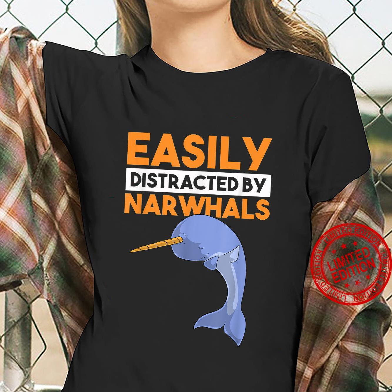 Easily Distracted By Narwhals Whale Dabbing Dab Shirt ladies tee