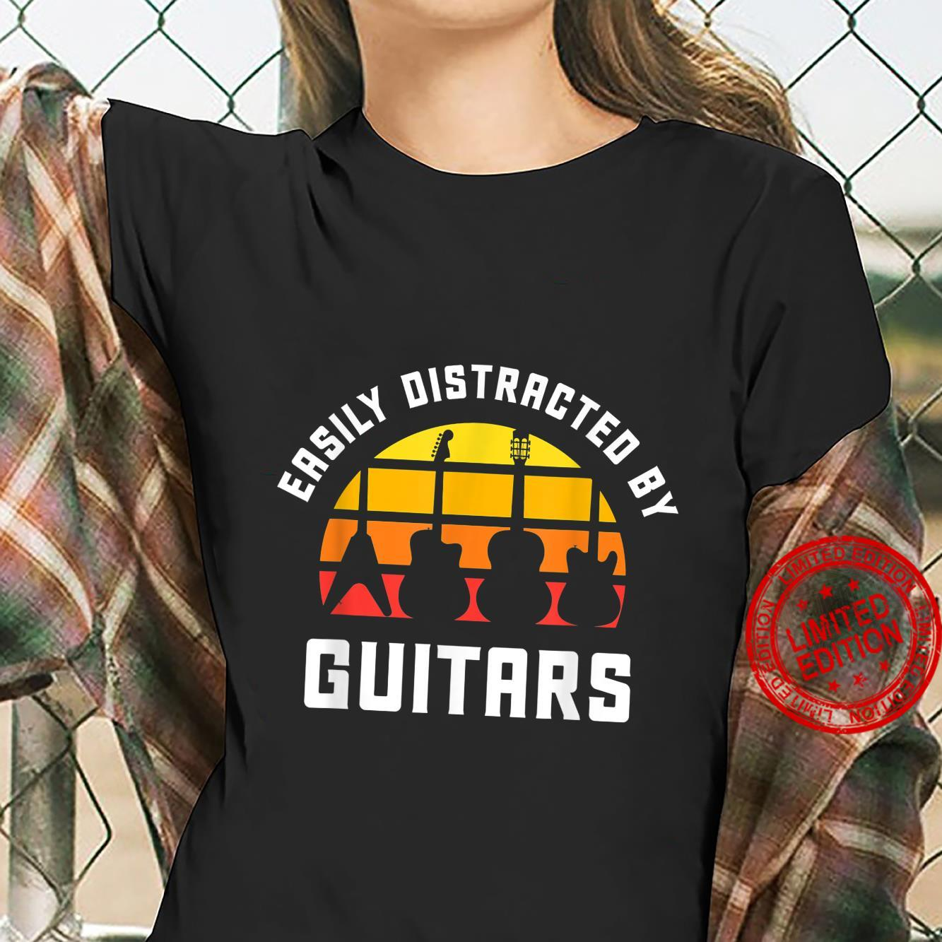 Easily Distracted by Guitars Love Guitar Player Musician Shirt ladies tee
