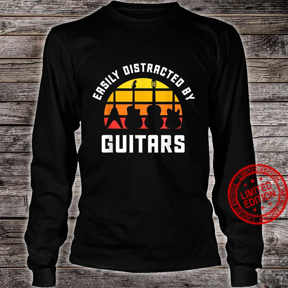 Easily Distracted by Guitars Love Guitar Player Musician Shirt long sleeved