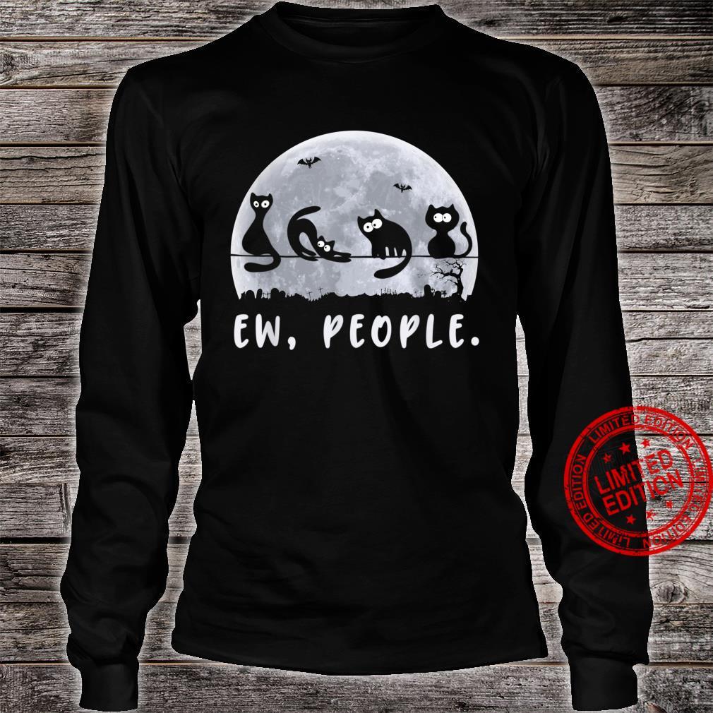 Ew People Black Cat Halloween Costume Cute Kitty Meowy Shirt long sleeved