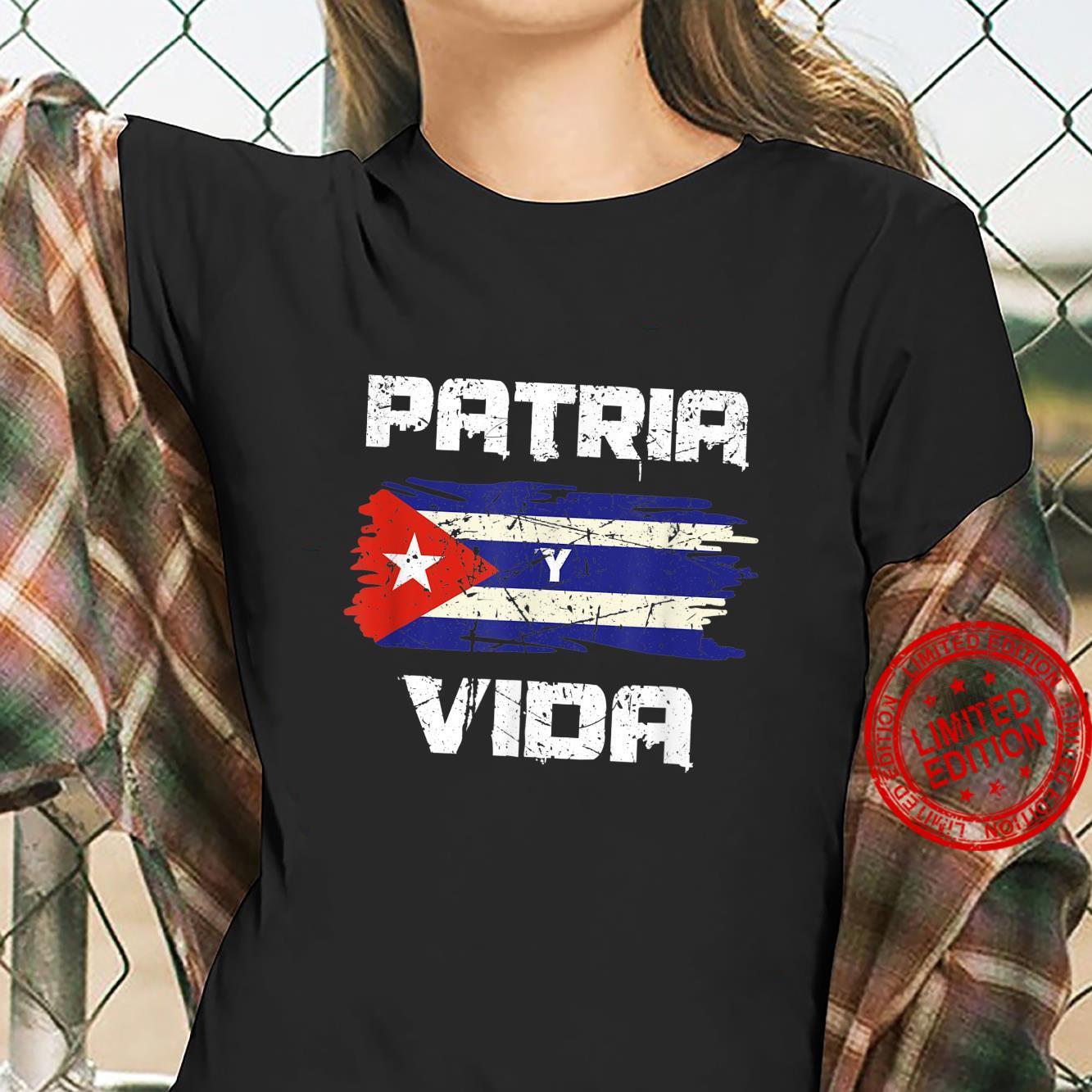Free Cuba Libre Patria Y Vida Cuba Cuban Flag Revolution Shirt ladies tee