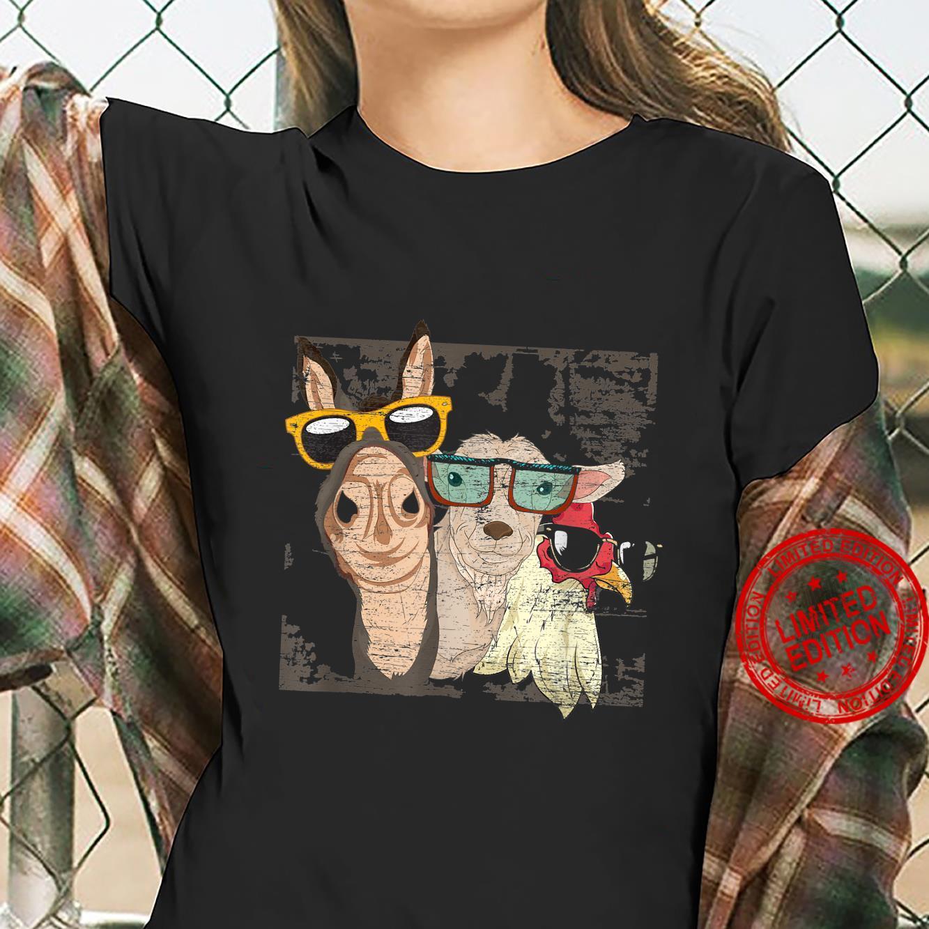 Funny Goat Cool Donkey Sunglasses Chicken Farm Animal Shirt ladies tee
