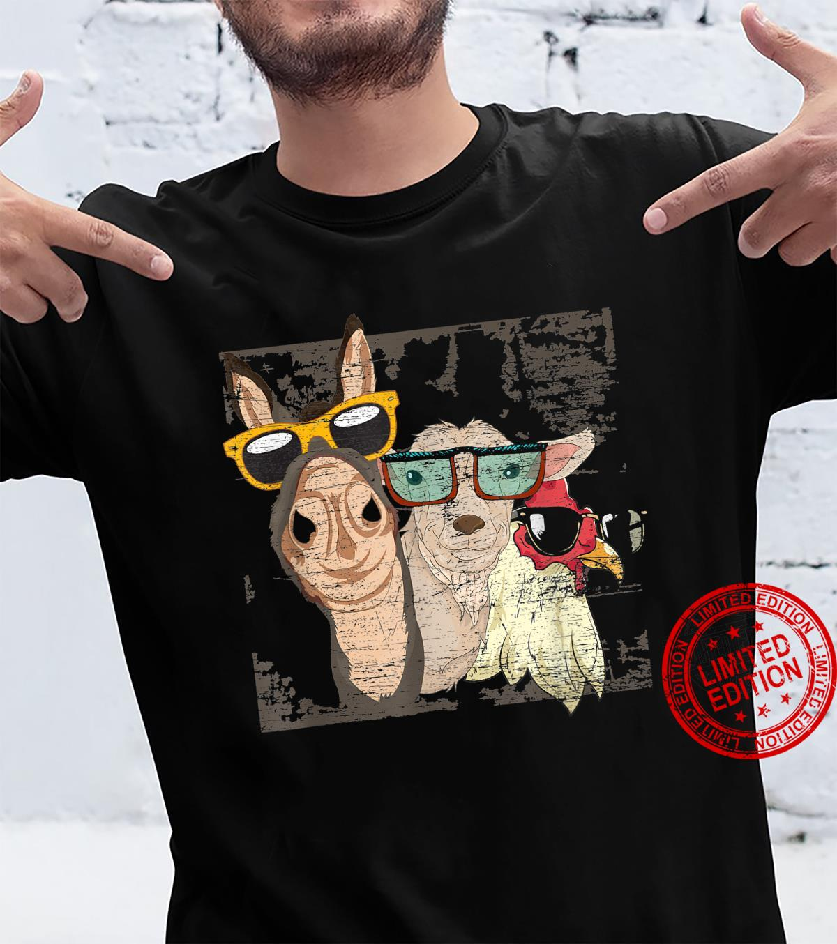 Funny Goat Cool Donkey Sunglasses Chicken Farm Animal Shirt
