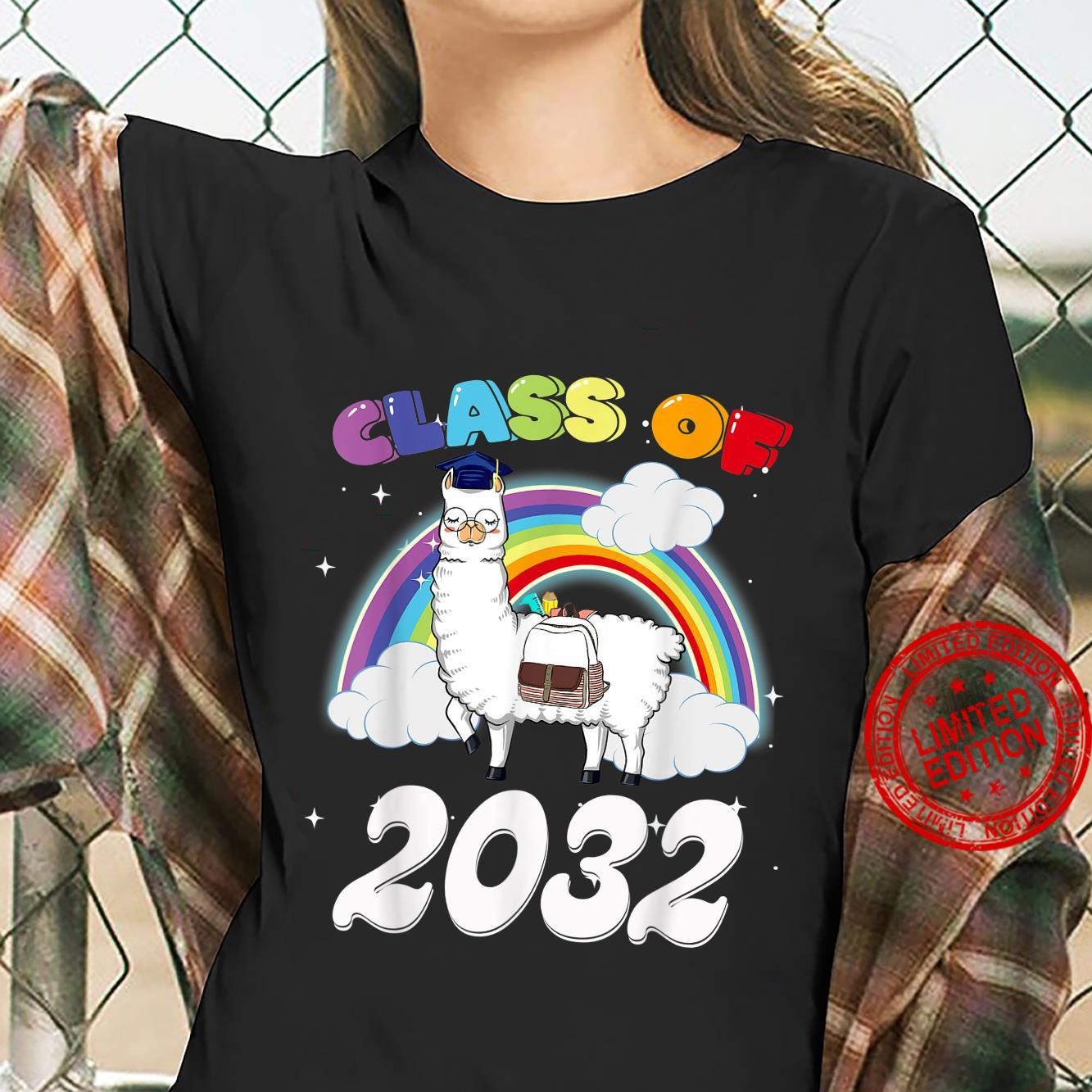 Funny Rainbow Senior Class Of 2032 Sloth Cap Graduation Shirt ladies tee