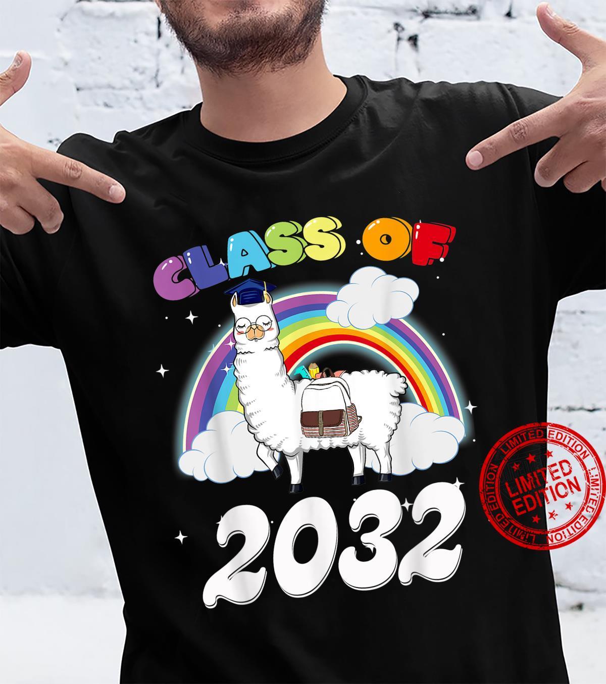 Funny Rainbow Senior Class Of 2032 Sloth Cap Graduation Shirt