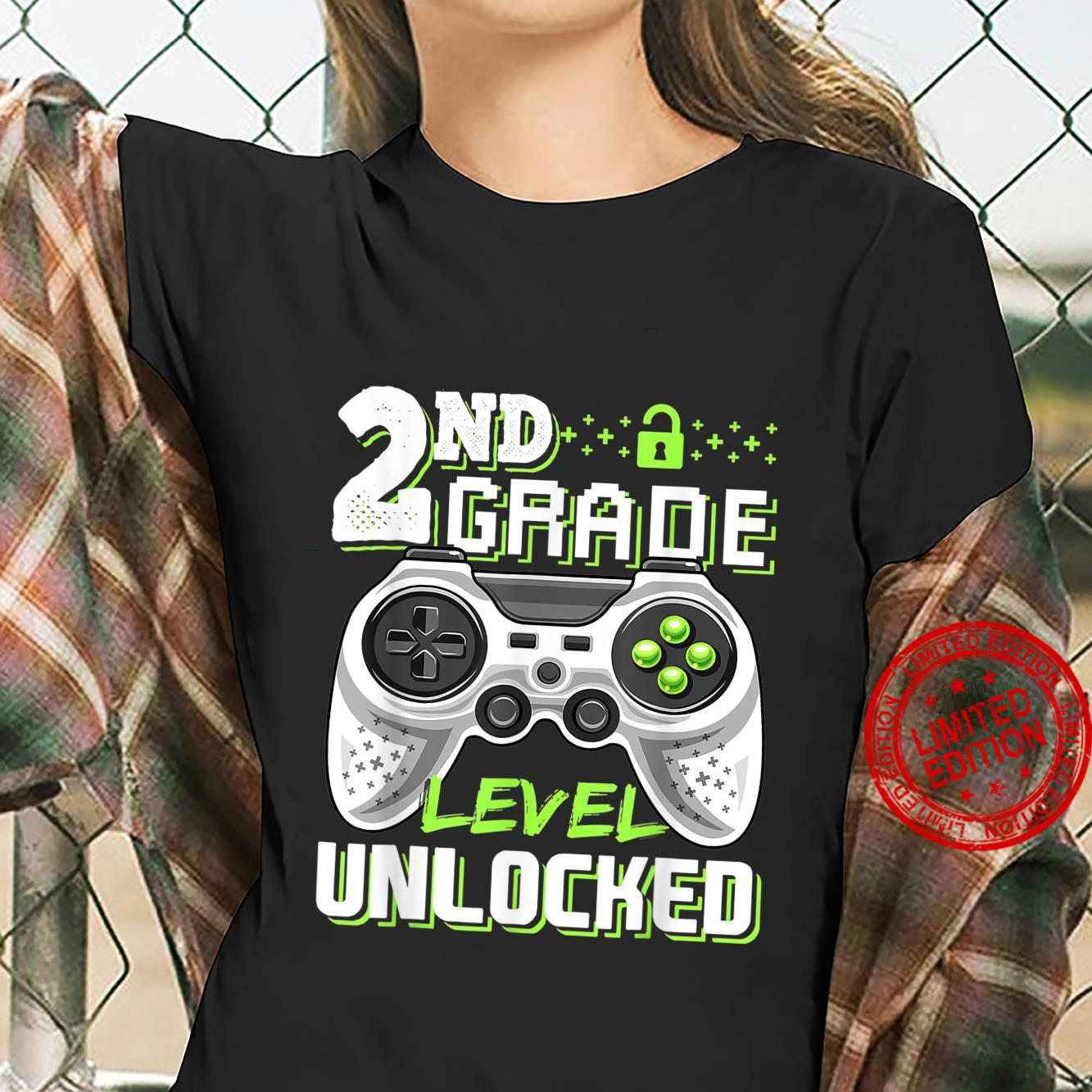 Funny Video Game Back To School 2nd Grade Level Unlocked Shirt ladies tee