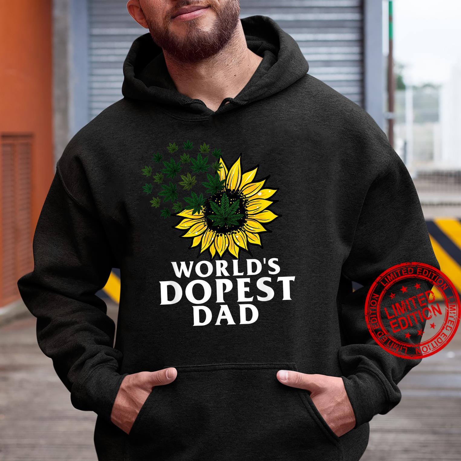 Funny World's Dopest Dad Cool Sunflower Weeds Cannabis Shirt hoodie