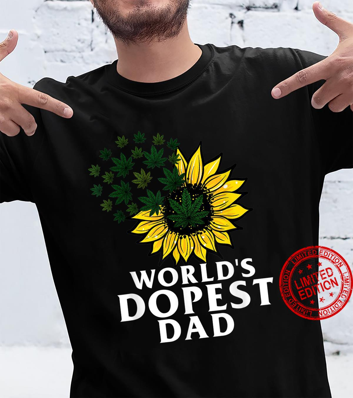 Funny World's Dopest Dad Cool Sunflower Weeds Cannabis Shirt