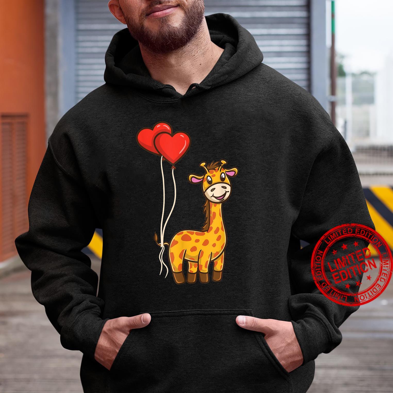 Giraffe With Heart Balloons Giraffe Valentines Day Shirt hoodie