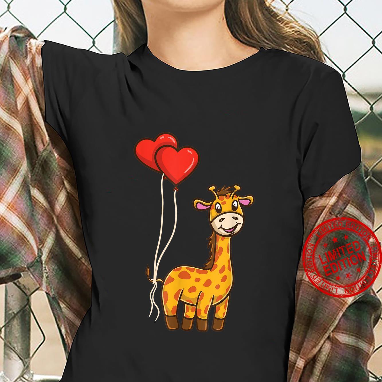 Giraffe With Heart Balloons Giraffe Valentines Day Shirt ladies tee