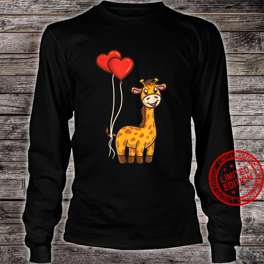 Giraffe With Heart Balloons Giraffe Valentines Day Shirt long sleeved