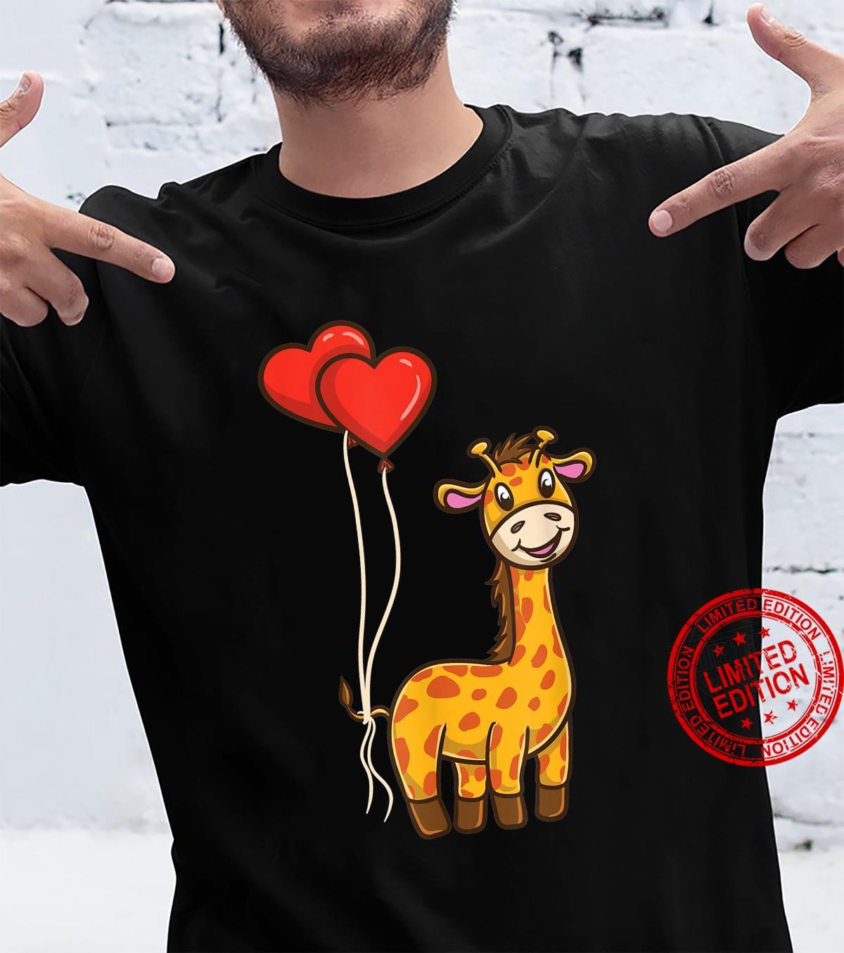 Giraffe With Heart Balloons Giraffe Valentines Day Shirt