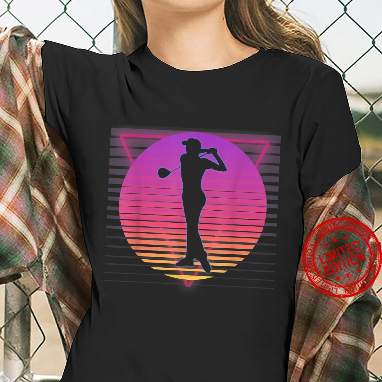 Golf Golfer Retro Vaporwave Vintage 80s 90s Style Sunset Shirt ladies tee