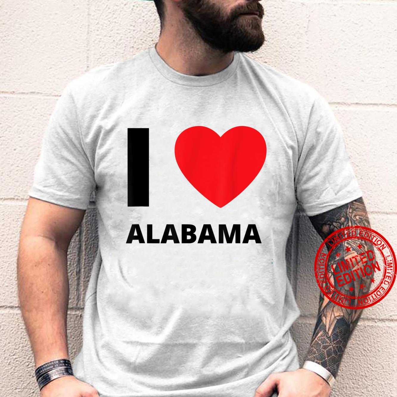 I Love Alabama Heart AL Travel Tourist Shirt