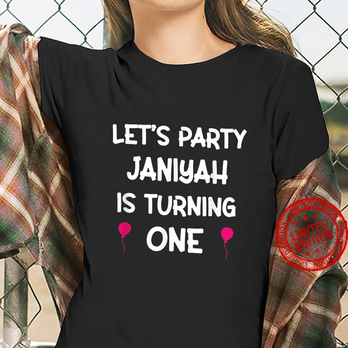 Janiyah first birthday shirt with name 1 year old girl Shirt ladies tee