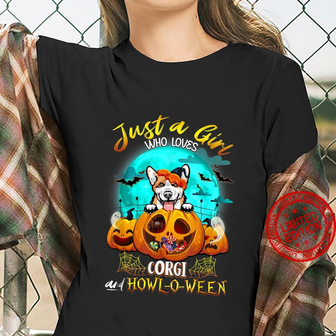 Just A Girl Who Loves Corgi Dog and Halloween Pumpkin Shirt ladies tee