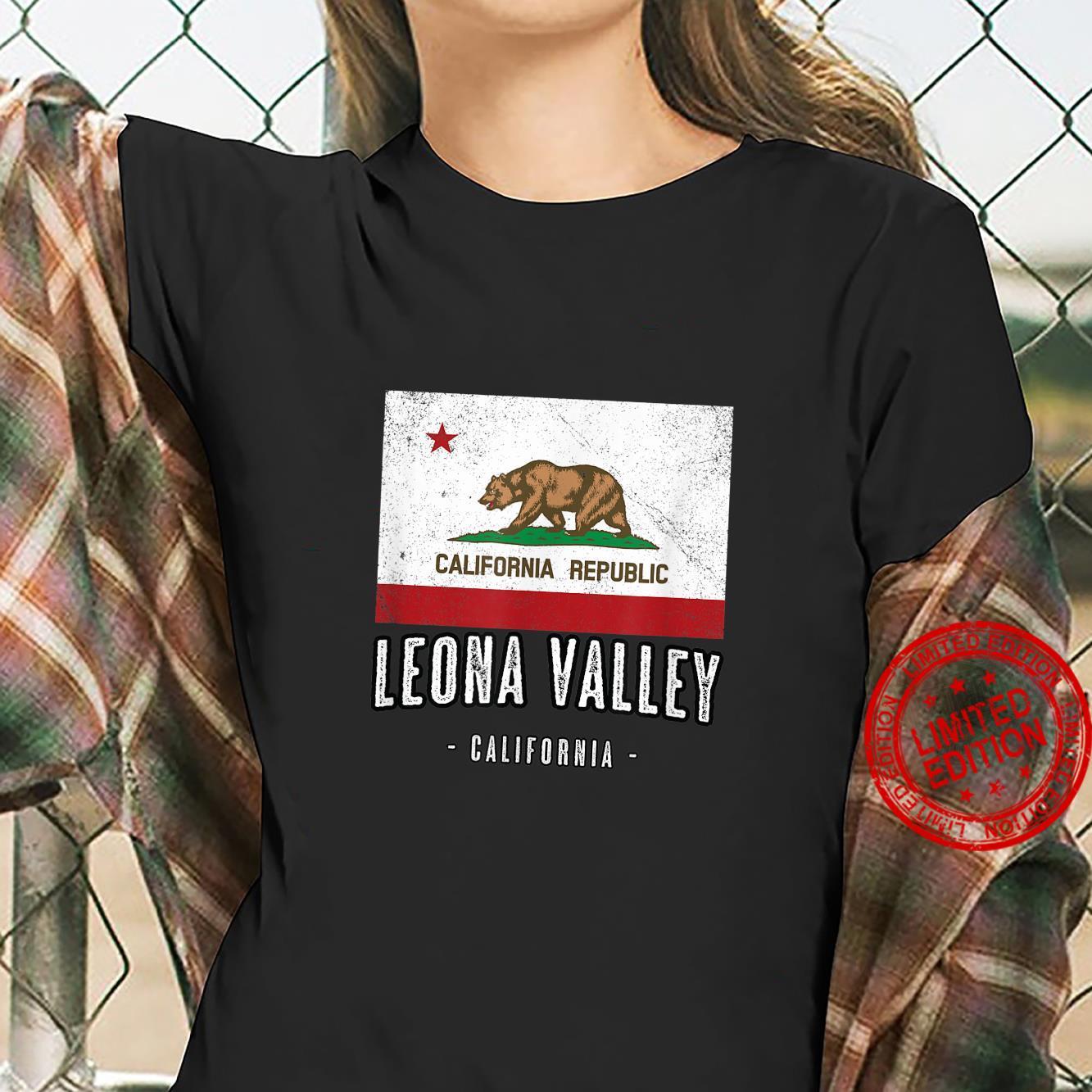 LEONA VALLEY California Cali City Souvenir CA Flag Shirt ladies tee