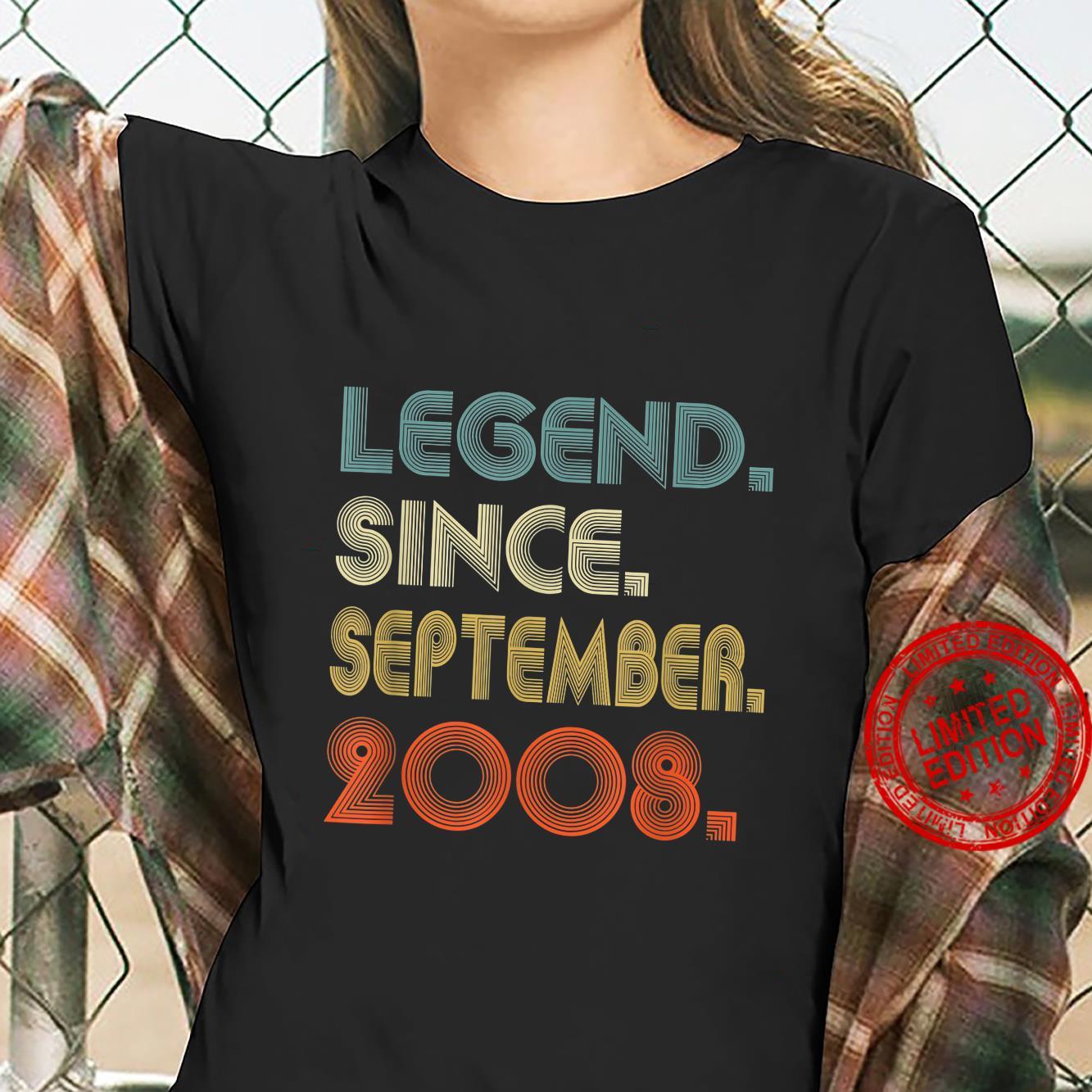 Legend Since September 2008 13th Birthday Shirt ladies tee