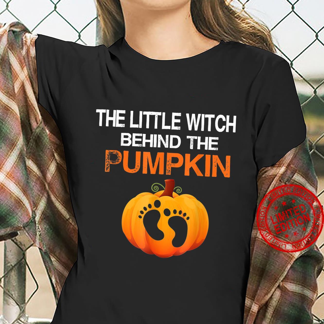 Little Witch Behind The Pumpkin Halloween Pregnancy Dad Shirt ladies tee