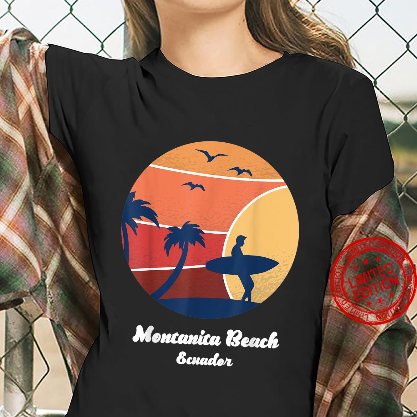 Montanita Beach Ecuador Surfing Vintage Surfer Beach Surf Shirt ladies tee