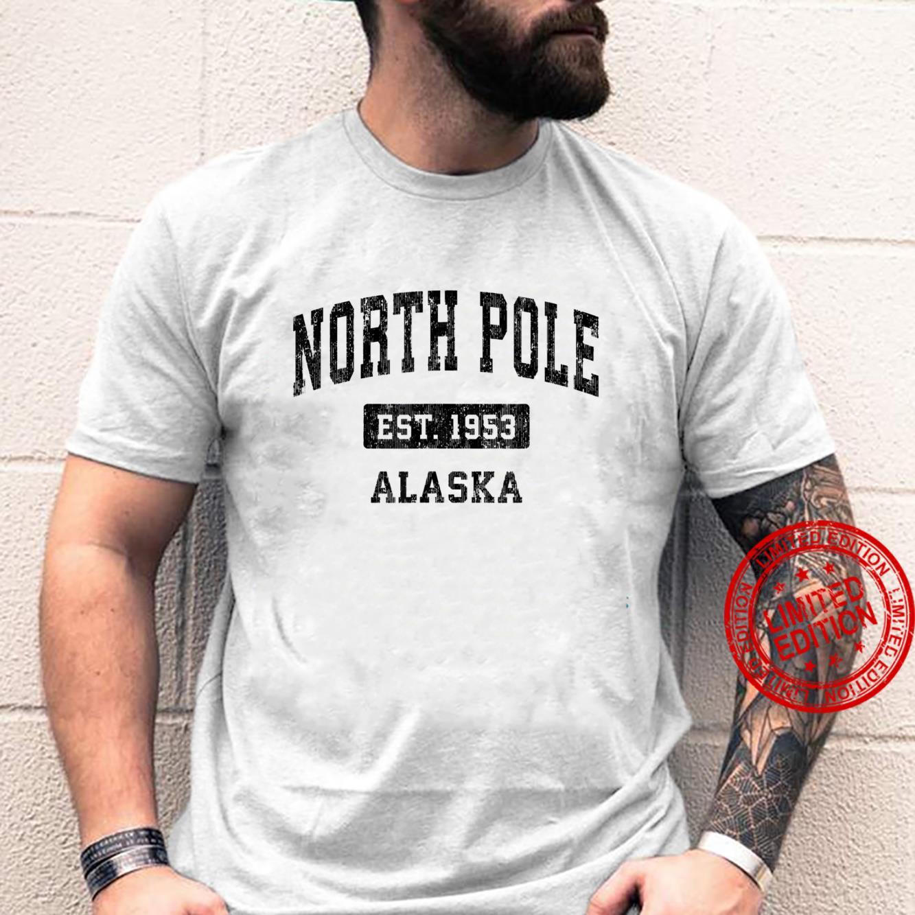 North Pole Alaska AK Vintage Sports Design Black Design Shirt