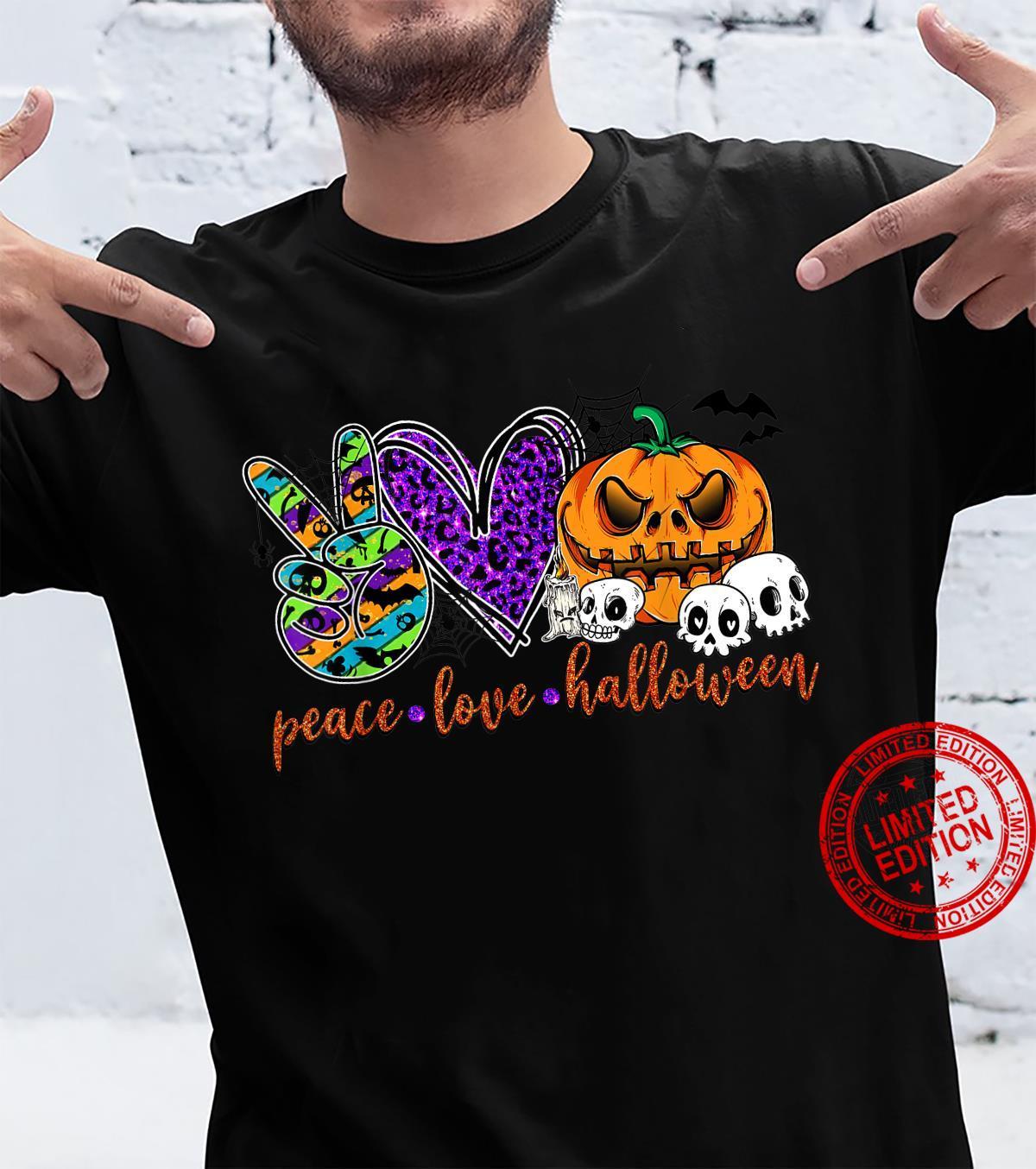 Peace Love Halloween Pumpkin Halloween Vibes Shirt